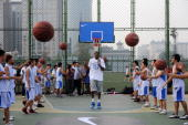 Kevin Durant NBA player for the Oklahoma City Thunder attends an activity with Chinese young basketball enthusiasts at the Dongdan Courts on June 3...