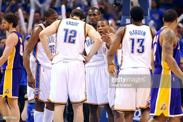 Kevin Durant Nenad Krstic Serge Ibaka Russell Westbrook and James Harden of the Oklahoma City Thunder against the Los Angeles Lakers in Game Six of...