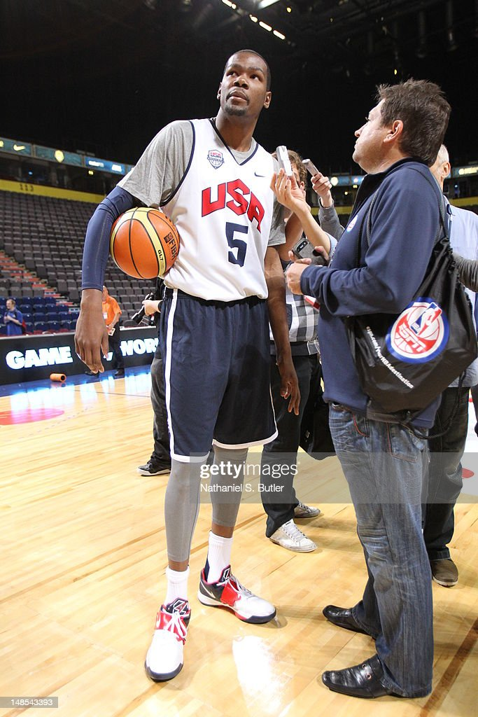 <a gi-track='captionPersonalityLinkClicked' href=/galleries/search?phrase=Kevin+Durant&family=editorial&specificpeople=3847329 ng-click='$event.stopPropagation()'>Kevin Durant</a> #5 of the 2012 US Men's Senior National Team talks to the media during a 2012 US Men's Senior National Team Practice at the Manchester Arena on July 18, 2012 in Manchester, UK.