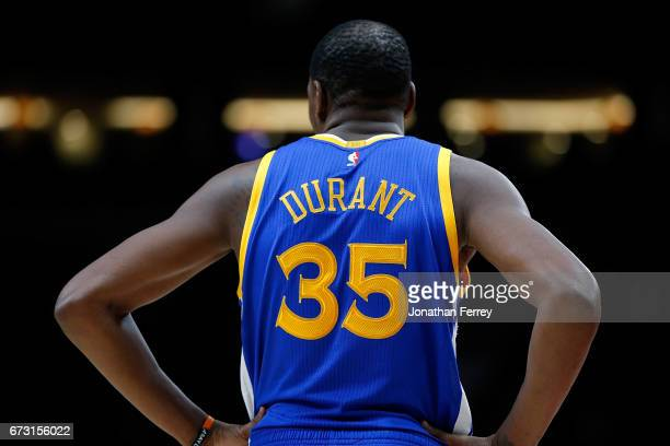 Kevin Durant of the Golden State Warriors against the Portland Trail Blazers during Game Four of the Western Conference Quarterfinals of the 2017 NBA...