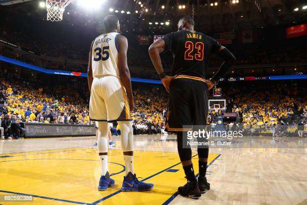 Kevin Durant of the Golden State Warriors and LeBron James of the Cleveland Cavaliers during Game Two of the 2017 NBA Finals on June 4 2017 at ORACLE...