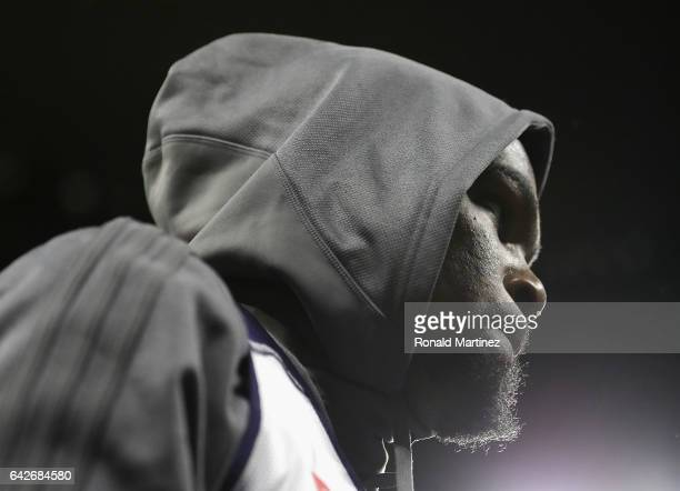 Kevin Durant of the Golden State Warriors attends practice for the 2017 NBA AllStar Game at the MercedesBenz Superdome on February 18 2017 in New...