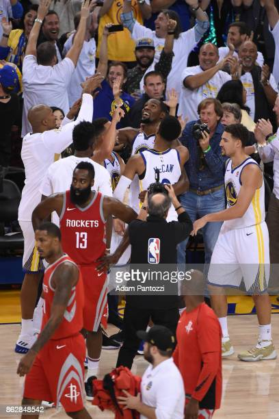 Kevin Durant of the Golden State Warriors celebrates during the game against the Houston Rockets on October 17 2017 at ORACLE Arena in Oakland...