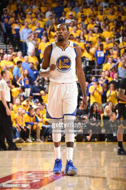 Kevin Durant of the Golden State Warriors celebrates in Game Five of the 2017 NBA Finals on June 12 2017 at ORACLE Arena in Oakland California NOTE...