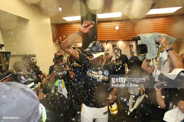 Kevin Durant of the Golden State Warriors celebrates in the locker room after winning the NBA Championsip in Game Five of the 2017 NBA Finals against...