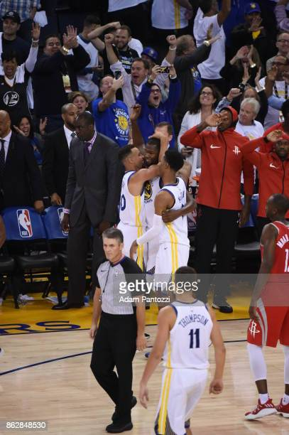 Kevin Durant of the Golden State Warriors celebrates with Stephen Curry during the game against the Houston Rockets on October 17 2017 at ORACLE...