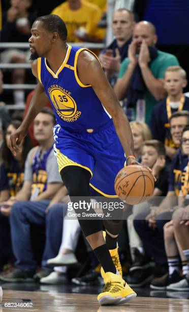 Kevin Durant of the Golden State Warriors controls the ball during their game against the Utah Jazz in Game Four of the Western Conference Semifinals...