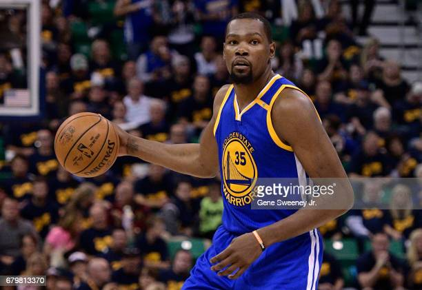 Kevin Durant of the Golden State Warriors controls the ball in the second half of their 10291 win over the Utah Jazz in Game Three of the Western...
