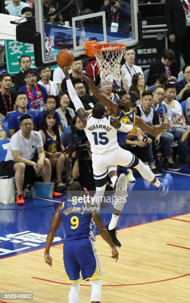 Kevin Durant of the Golden State Warriors defends against Shabazz Muhammad of the Minnesota Timberwolves as part of the 2017 Global Games China on...