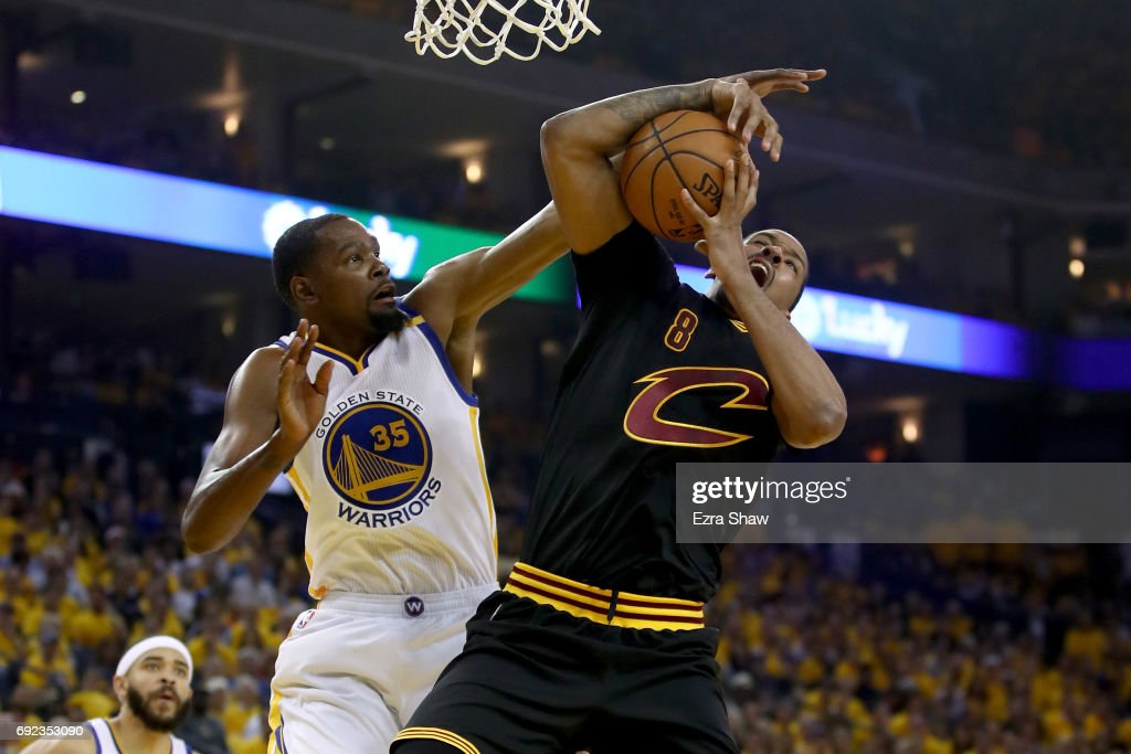 Kevin Durant #35 of the Golden State Warriors defends Channing Frye #8 of the Cleveland Cavaliers in Game 2 of the 2017 NBA Finals at ORACLE Arena on June 4, 2017 in Oakland, California.