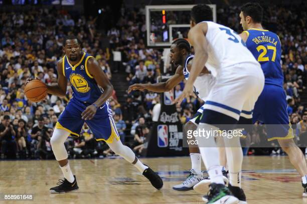 Kevin Durant of the Golden State Warriors drives the ball during the game against the Minnesota Timberwolves as part of 2017 NBA Global Games China...