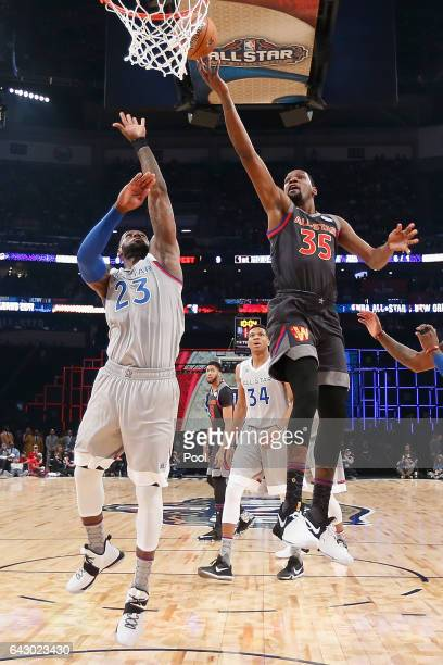 Kevin Durant of the Golden State Warriors drives to the basket against LeBron James of the Cleveland Cavaliers in the first half of the 2017 NBA...