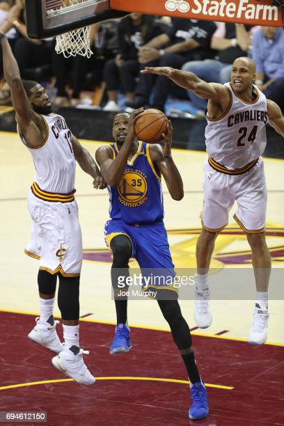 Kevin Durant of the Golden State Warriors drives to the basket against Richard Jefferson of the Cleveland Cavaliers in Game Four of the 2017 NBA...