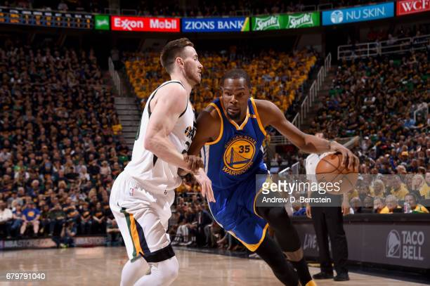 Kevin Durant of the Golden State Warriors drives to the basket against the Utah Jazz during Game Three of the Western Conference Semifinals of the...