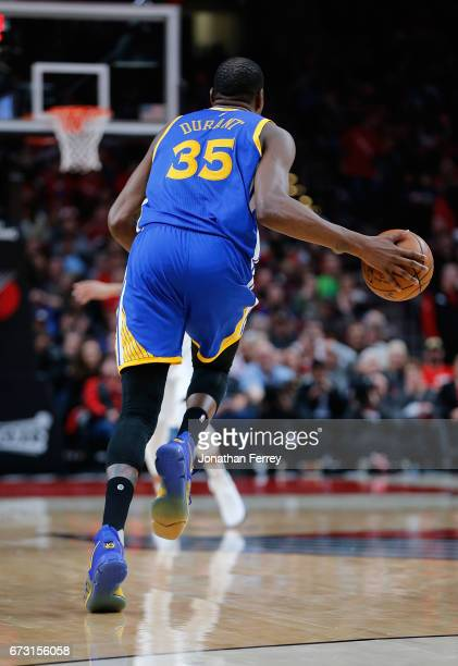 Kevin Durant of the Golden State Warriors drives upcourt against the Portland Trail Blazers during Game Four of the Western Conference Quarterfinals...