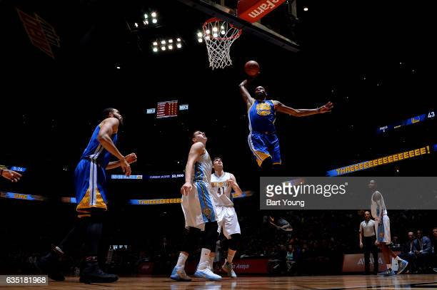 Kevin Durant of the Golden State Warriors dunk the ball during the game against the Denver Nuggets on February 13 2017 at the Pepsi Center in Denver...