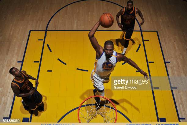 Kevin Durant of the Golden State Warriors dunks against the Cleveland Cavaliers in Game One of the 2017 NBA Finals on June 1 2017 at Oracle Arena in...