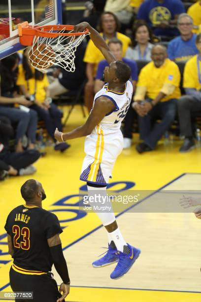 Kevin Durant of the Golden State Warriors dunks against the Cleveland Cavaliers in Game Two of the 2017 NBA Finals on June 4 2017 at ORACLE Arena in...