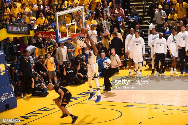 Kevin Durant of the Golden State Warriors dunks against the Cleveland Cavaliers in Game Five of the 2017 NBA Finals on June 12 2017 at Oracle Arena...