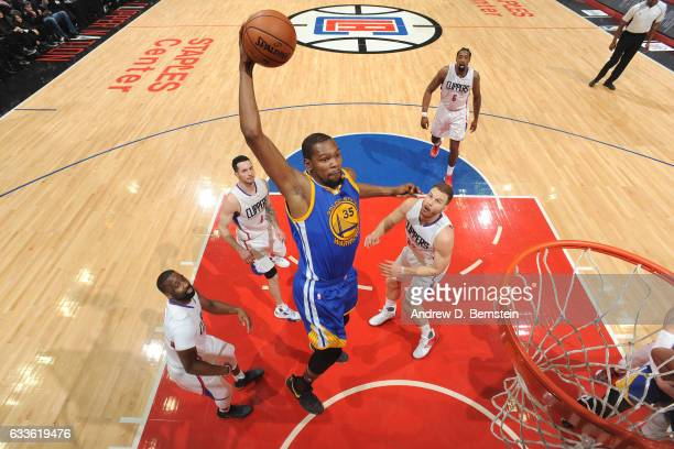 Kevin Durant of the Golden State Warriors dunks against the LA Clippers on February 2 2017 at STAPLES Center in Los Angeles California NOTE TO USER...