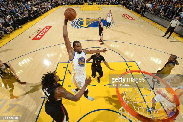 Kevin Durant of the Golden State Warriors dunks against the LA Clippers on February 23 2017 at ORACLE Arena in Oakland California NOTE TO USER User...