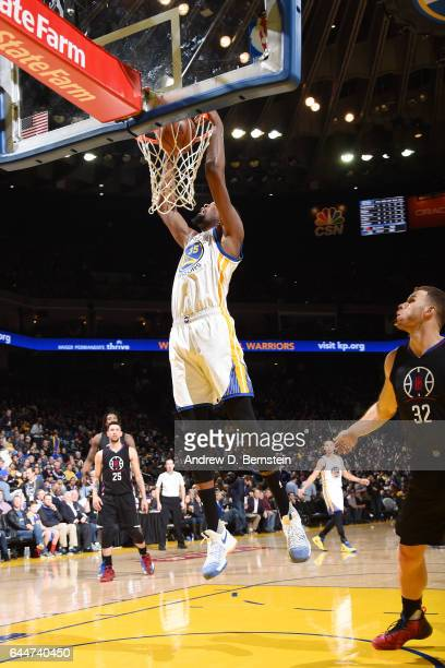Kevin Durant of the Golden State Warriors dunks against the LA Clippers during the game on February 23 2017 at ORACLE Arena in Oakland California...
