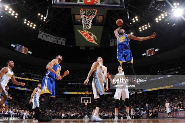 Kevin Durant of the Golden State Warriors dunks against the Denver Nuggets on February 13 2017 at the Pepsi Center in Denver Colorado NOTE TO USER...