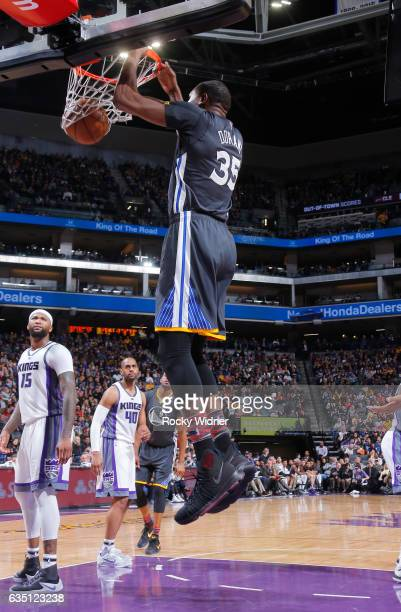 Kevin Durant of the Golden State Warriors dunks against the Sacramento Kings on February 4 2017 at Golden 1 Center in Sacramento California NOTE TO...