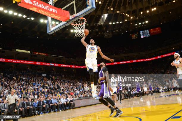 Kevin Durant of the Golden State Warriors dunks against the Sacramento Kings on February 15 2017 at ORACLE Arena in Oakland California NOTE TO USER...