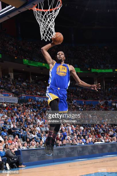 Kevin Durant of the Golden State Warriors dunks against the Oklahoma City Thunder on February 11 2017 at Chesapeake Energy Arena in Oklahoma City...
