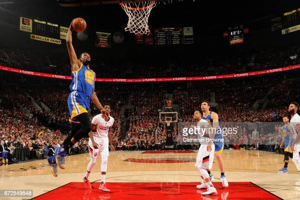 Kevin Durant of the Golden State Warriors dunks against the Portland Trail Blazers in Game Four of the Western Conference Quarterfinals of the 2017...
