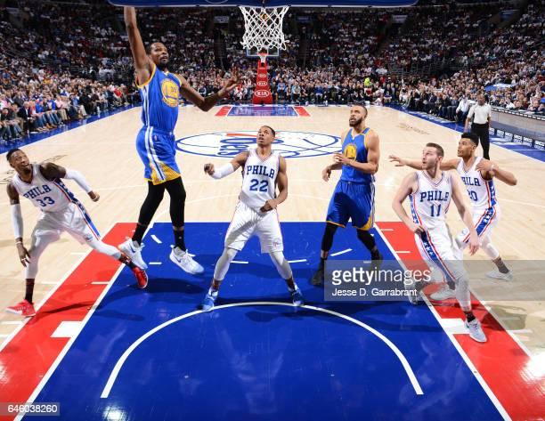 Kevin Durant of the Golden State Warriors dunks the ball against the Philadelphia 76ers at Wells Fargo Center on February 27 2017 in Philadelphia...