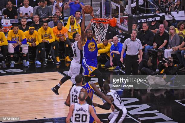 Kevin Durant of the Golden State Warriors dunks the ball against the San Antonio Spurs in Game Four of the Western Conference Finals during the 2017...