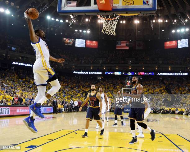 Kevin Durant of the Golden State Warriors dunks the ball against the Cleveland Cavaliers in Game 1 of the 2017 NBA Finals at ORACLE Arena on June 1...