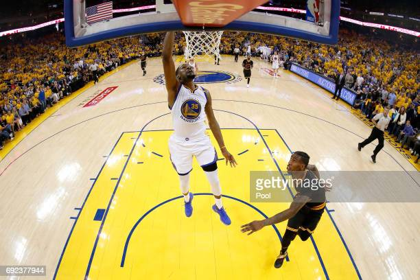 Kevin Durant of the Golden State Warriors dunks the ball against the Cleveland Cavaliers in Game 2 of the 2017 NBA Finals at ORACLE Arena on June 4...