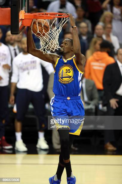 Kevin Durant of the Golden State Warriors dunks the ball against the Cleveland Cavaliers in Game Four of the 2017 NBA Finals on June 9 2017 at...