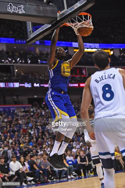 Kevin Durant of the Golden State Warriors dunks the ball against the Minnesota Timberwolves as part of 2017 NBA Global Games China on October 8 2017...