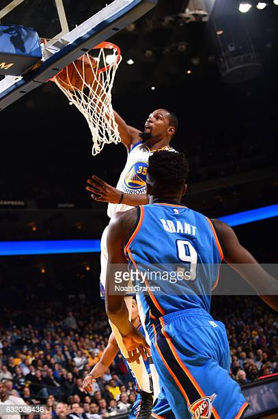 Kevin Durant of the Golden State Warriors dunks the ball during the game against the Oklahoma City Thunder on January 18 2017 at ORACLE Arena in...