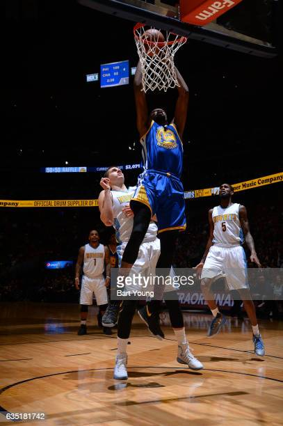 Kevin Durant of the Golden State Warriors dunks the ball during the game against the Denver Nuggets on February 13 2017 at the Pepsi Center in Denver...