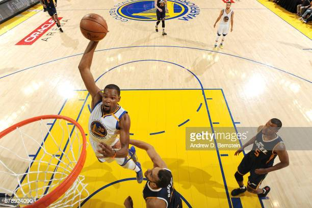 Kevin Durant of the Golden State Warriors dunks the ball during the game against the Utah Jazz during Game Two of the Western Conference Semifinals...