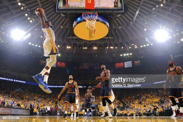 Kevin Durant of the Golden State Warriors dunks the ball during the game against the Cleveland Cavaliers during Game One of the 2017 NBA Finals at...