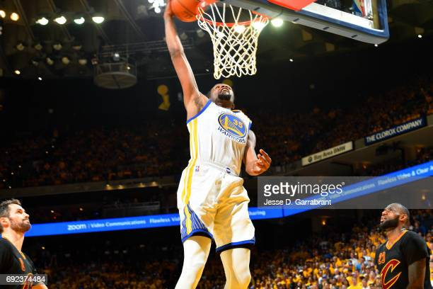 Kevin Durant of the Golden State Warriors dunks the ball during the game against the Cleveland Cavaliers during Game Two of the 2017 NBA Finals at...