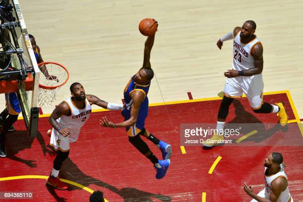 Kevin Durant of the Golden State Warriors dunks the ball during the game against the Cleveland Cavaliers in Game Four of the 2017 NBA Finals on June...