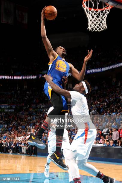 Kevin Durant of the Golden State Warriors goes for a dunk during the game against the Oklahoma City Thunder on February 11 2017 at Chesapeake Energy...