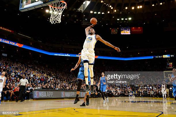 Kevin Durant of the Golden State Warriors goes for the dunk during the game against the Oklahoma City Thunder on January 18 2017 at ORACLE Arena in...