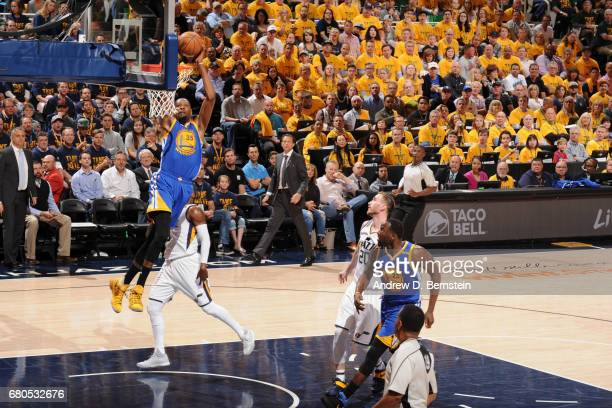 Kevin Durant of the Golden State Warriors goes to the basket against the Utah Jazz during Game Four of the Western Conference Semifinals of the 2017...