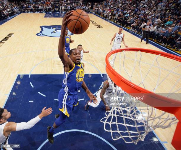Kevin Durant of the Golden State Warriors goes to the basket against the Memphis Grizzlies on October 21 2017 at FedExForum in Memphis Tennessee NOTE...