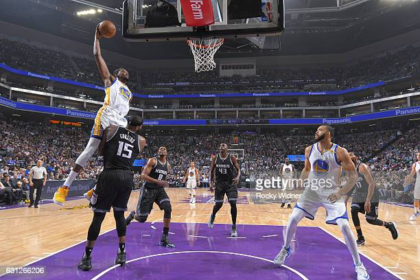 Kevin Durant of the Golden State Warriors goes up for a dunk against the Sacramento Kings on January 8 2017 at Golden 1 Center in Sacramento...