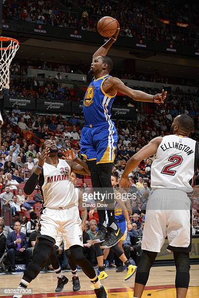 Kevin Durant of the Golden State Warriors goes up for a dunk against the Miami Heat on January 23 2017 at American Airlines Arena in Miami Florida...