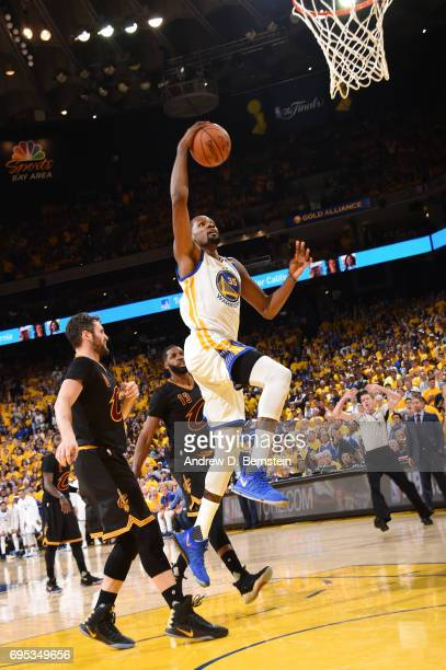 Kevin Durant of the Golden State Warriors goes up for a dunk against the Cleveland Cavaliers in Game Five of the 2017 NBA Finals on June 12 2017 at...
